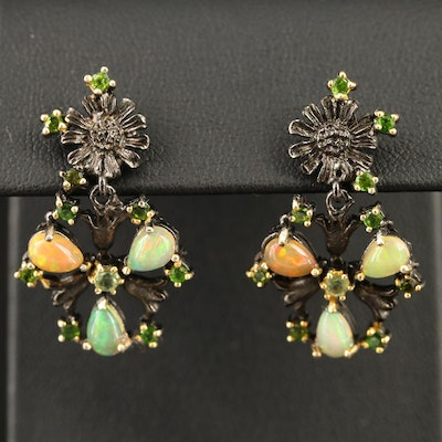 Sterling Silver Opal, Diopside and Peridot Floral Dangle Earrings