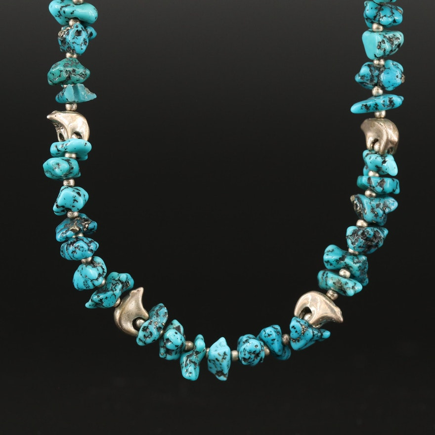 Western Sterling Silver Turquoise Fetish Bear Necklace