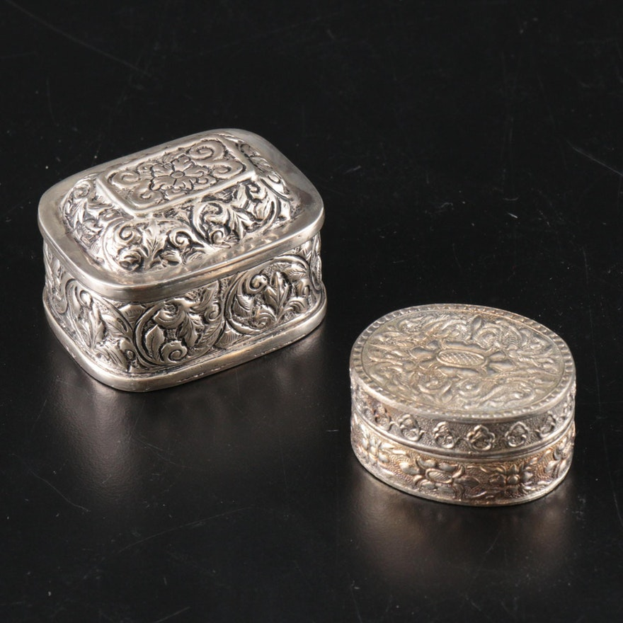 800 Silver and Silver Tone Repousse Boxes, Early to Mid 20th C.