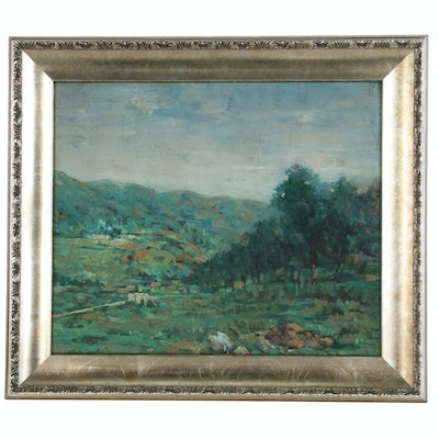 Landscape Oil Painting with Rolling Hills, Early 20th Century