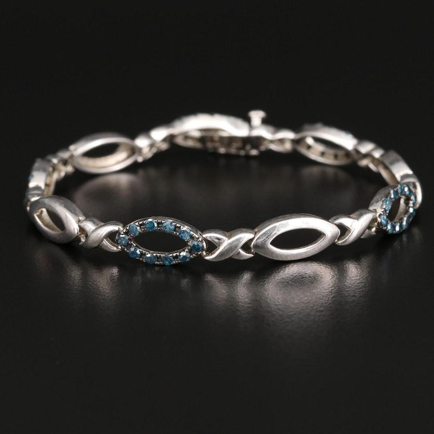 Sterling Silver 1.25 CTW Diamond Navette Link Bracelet