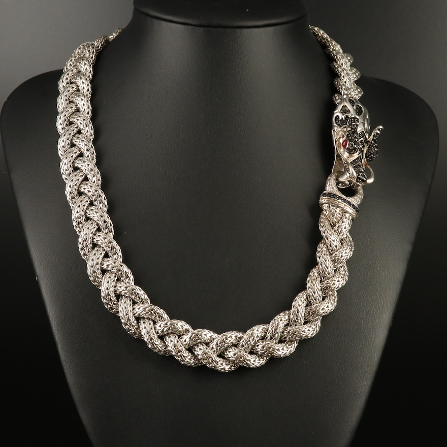 """John Hardy """"Naga"""" Sterling Sapphire and Ruby Braided Necklace"""