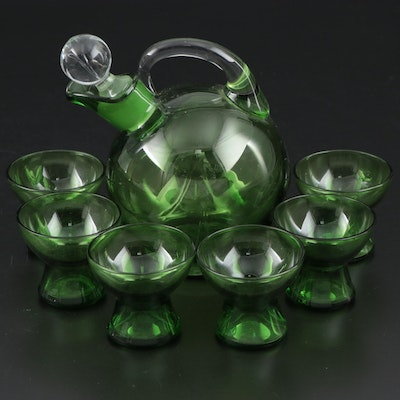 Green Mold-Blown Glass Decanter Set, Early 20th Century