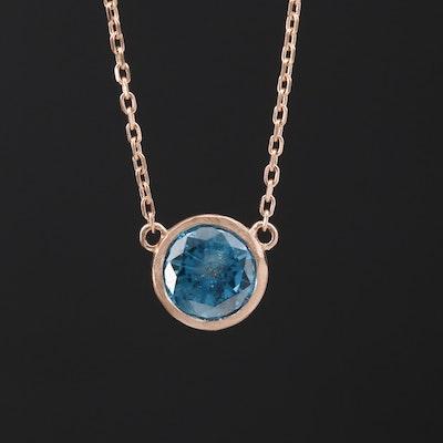 18K Bezel Set 1.00 CT Diamond Necklace