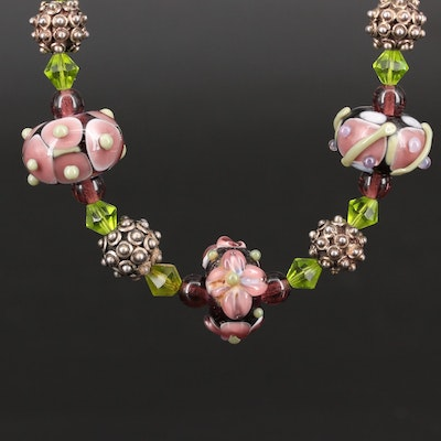 Beaded Necklace with Lampwork Glass and Sterling Silver Clasp