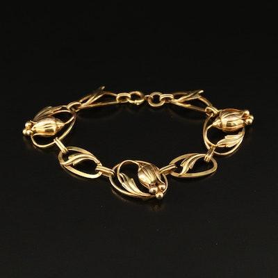 Vintage Carl-Art Gold Filled Flower Bracelet