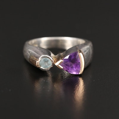 Sterling Silver Amethyst and Topaz Ring with 14K Accents