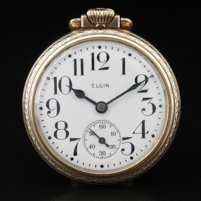 1938 Elgin 10K Gold Filled Open Face Pocket Watch