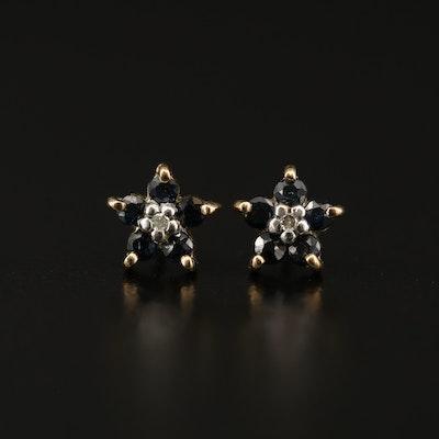 10K Sapphire and Diamond Floral Motif Stud Earrings