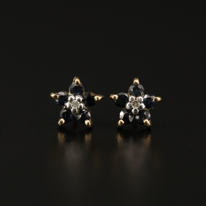 10K Sapphire and Diamond Floral Motif Stud Earrings