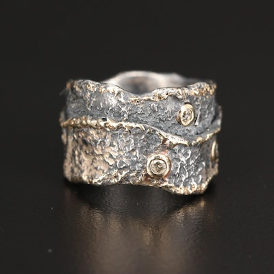 Sterling Silver Diamond Bezel Set Ring