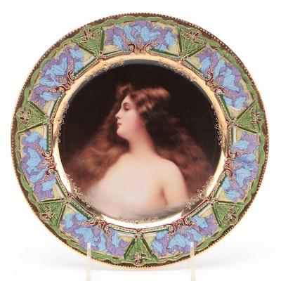 Royal Vienna Style Embellished Porcelain Portrait Plate