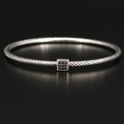 David Yurman Sterling Silver Diamond Twisted Bangle