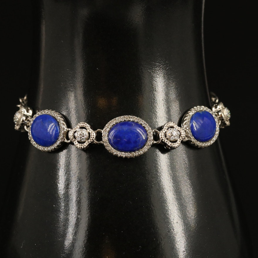 Sterling Silver Lapis Lazuli and Cubic Zirconia Bracelet