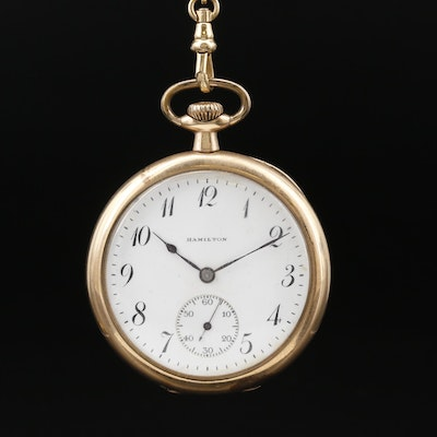 1919 Hamilton Gold Filled Pocket Watch with Gold Filled Chain Fob