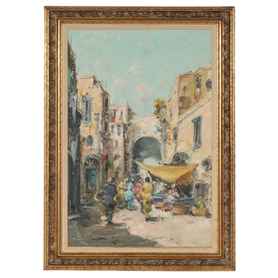 Impressionist Style Impasto Oil Painting of Street Market Scene, 20th Century