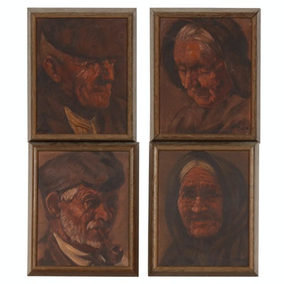 Set of Vintage Portrait Oil Paintings