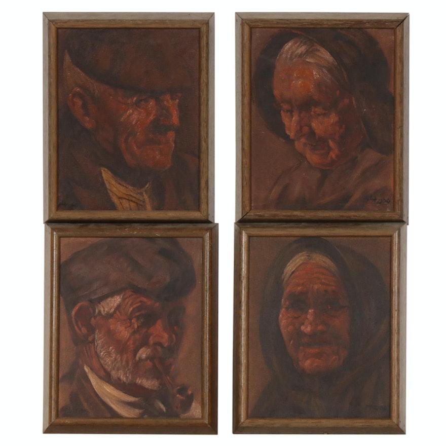 Set of Vintage Portrait Oil Paintings
