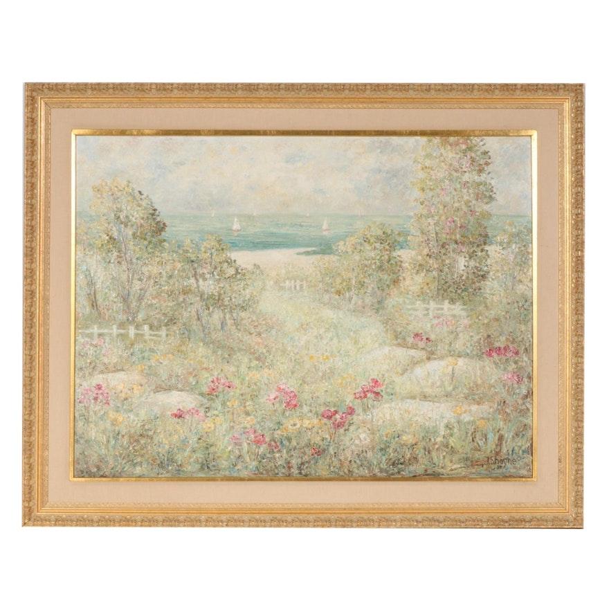 J. Shayne Impressionist Style Oil Painting of Coastal Landscape with Garden