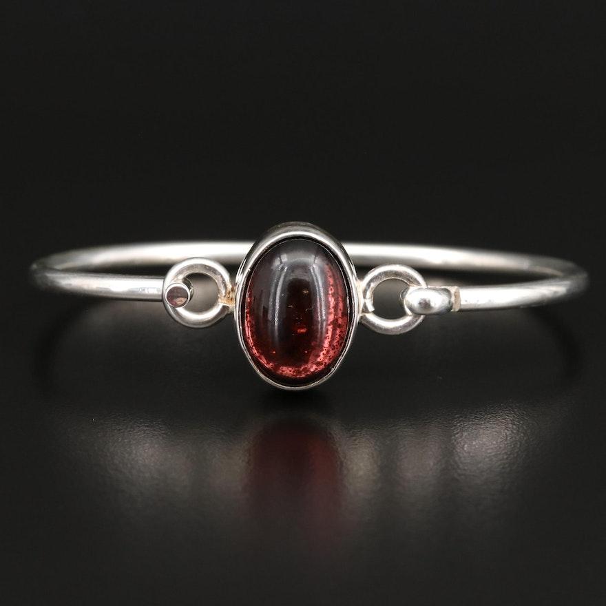 Sterling Silver Glass Cabochon Hook Bracelet