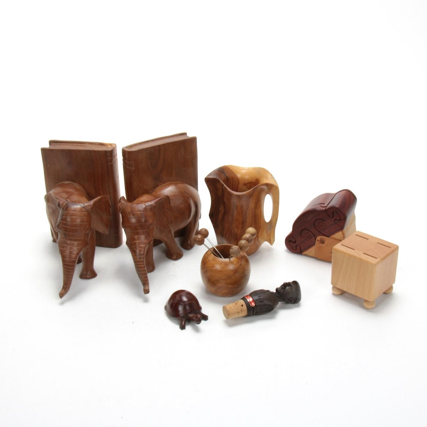 Elephant Bookends and Other Exotic Carved Wood, Mid-20th Century