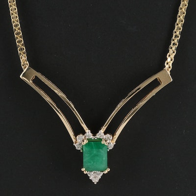 14K Emerald and Diamond Chevron Necklace