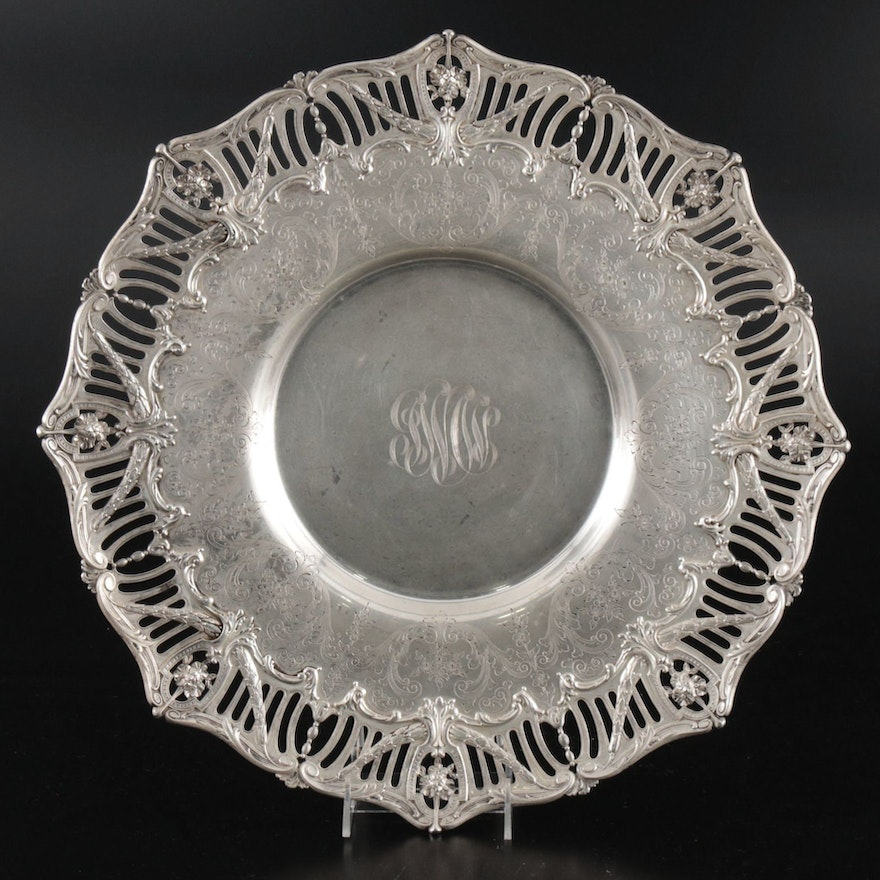 Dominick & Haff for W.W. Wattles & Sons Openwork Sterling Silver Serving Tray