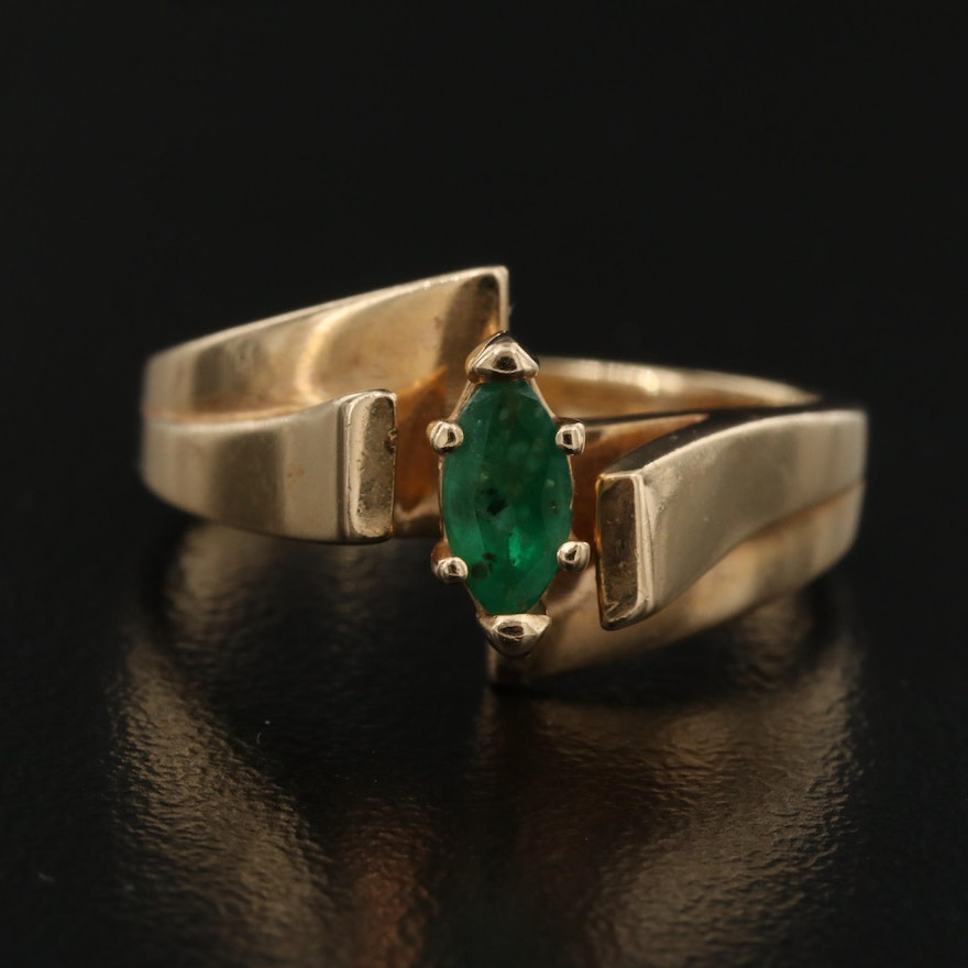 14K Emerald Cathedral Ring