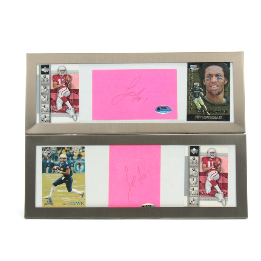 Larry Fitzgerald NFL Star Wide Receiver Cut Autographs with Framed Cards, COA