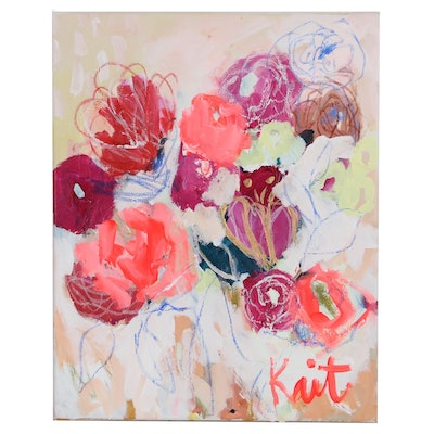 "Kait Roberts Mixed Media Painting ""Flowers for Carol"", 2020"
