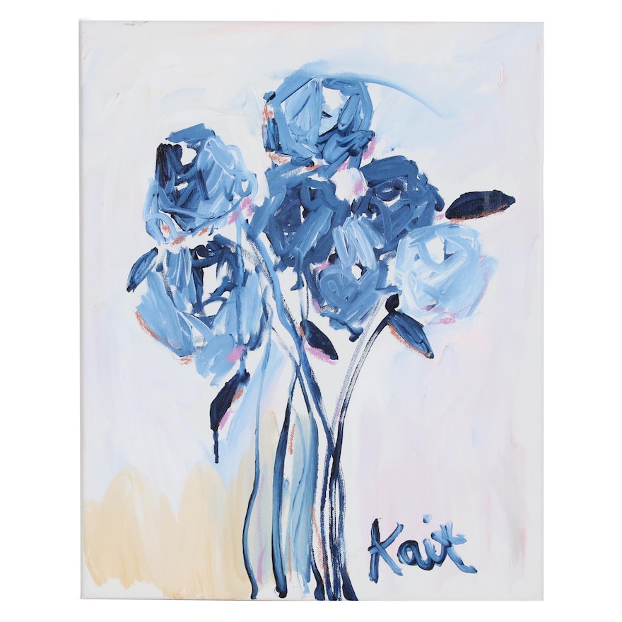"""Kait Roberts Acrylic Painting """"Love You Too"""", 2020"""