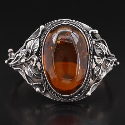 Vintage Sterling Silver Amber Foliate Hinged Bangle
