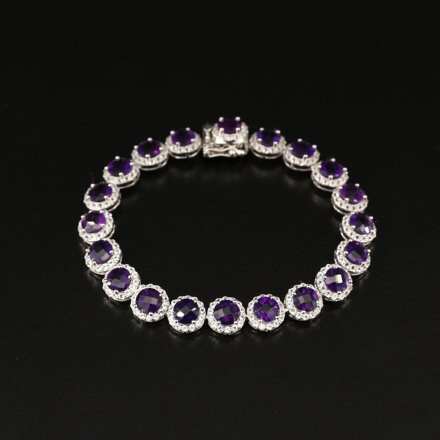 Sterling Silver Amethyst and Topaz Halo Bracelet