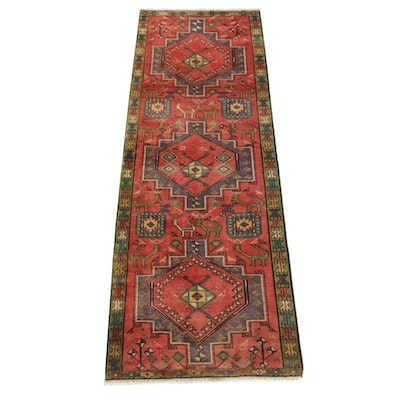 3'3 x 9'6 Hand-Knotted Northwest Persian Pictorial Runner, 1960s