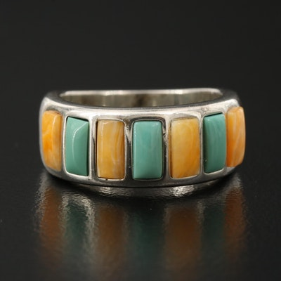 Sterling Silver Band with Turquoise and Agate