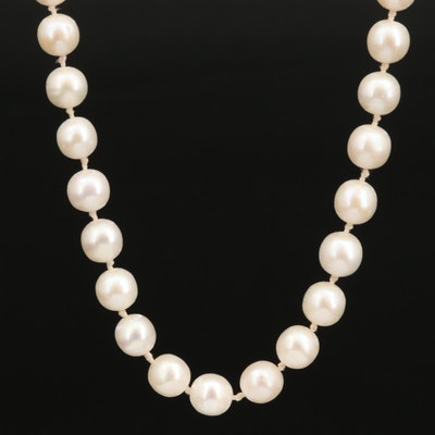 Hand Knotted Semi-Baroque Pearl Necklace with 14K Clasp