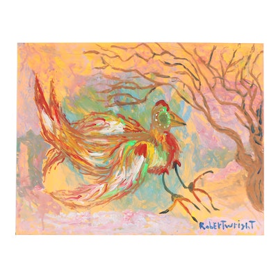 Robert Wright Folk Art Acrylic Bird Painting, Late 20th to 21st Century