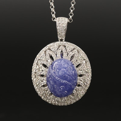 Sterling Silver Tanzanite and Sapphire Necklace