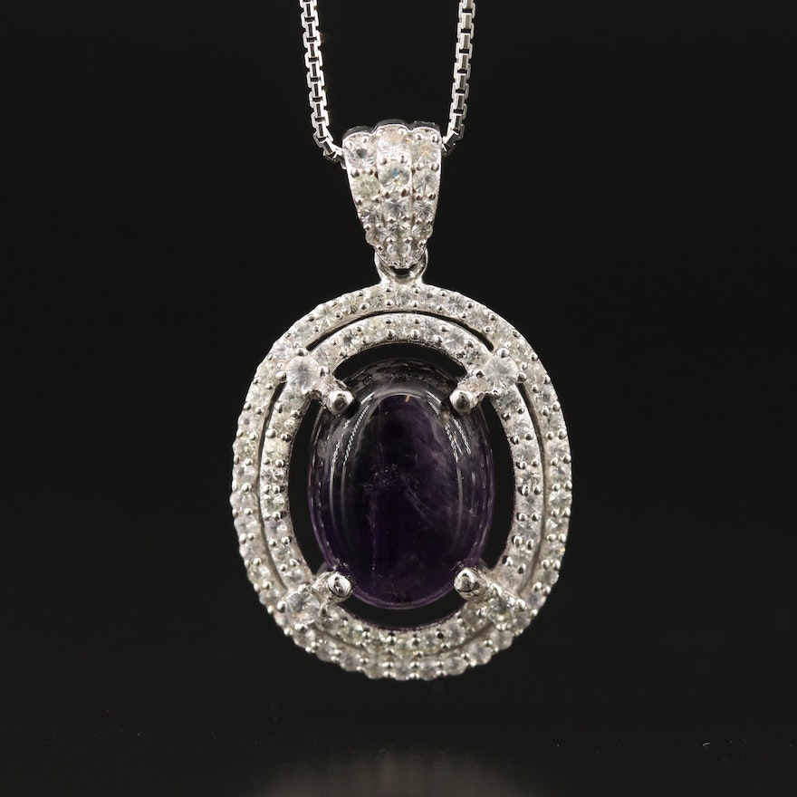 Sterling Silver Amethyst and Sapphire Double Halo Necklace