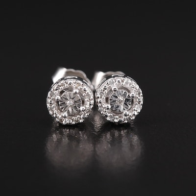 Sterling Silver Illusion Set Halo Stud Earrings
