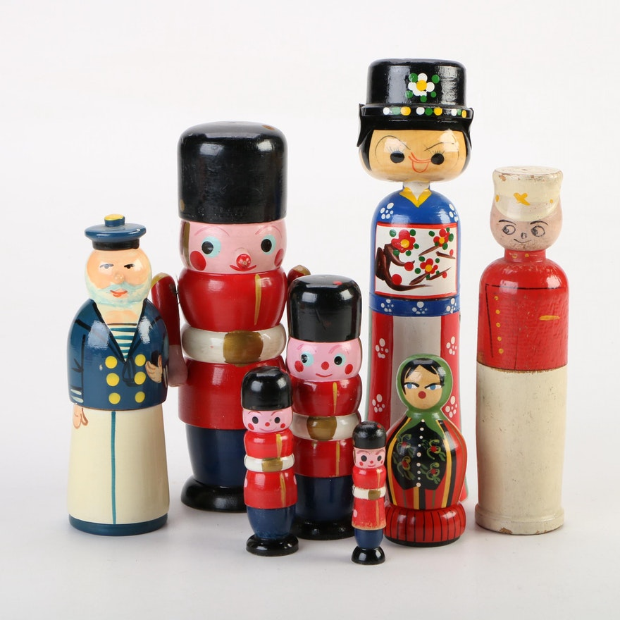 Hand-Painted Wood Figurines Including Nutcrackers, Mid to Late 20th Century
