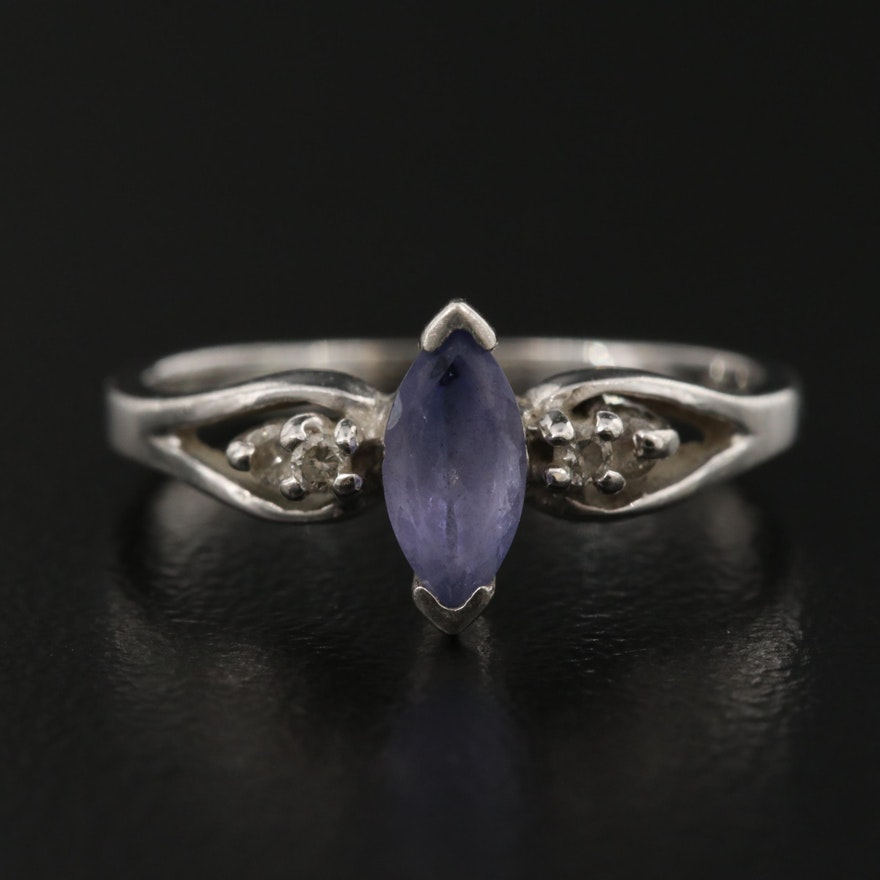 Platinum Tanzanite Ring with Diamond Accents