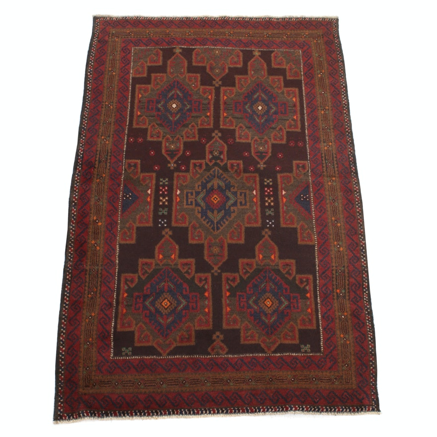 3'10 x 6'2 Hand-Knotted Persian Balouch Rug, 1970s