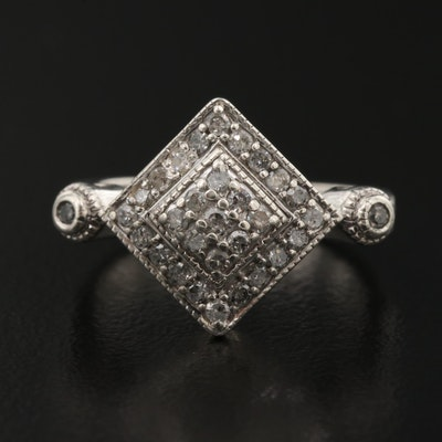 Sterling Silver Diamond Ring with Geometric Design