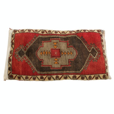 2' x 3'7 Hand-Knotted Turkish Village Pillow, 1930s