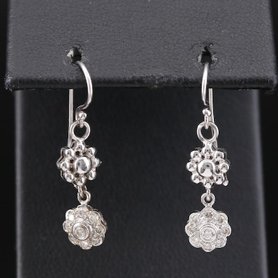 18K Diamond Flower Dangle Earrings