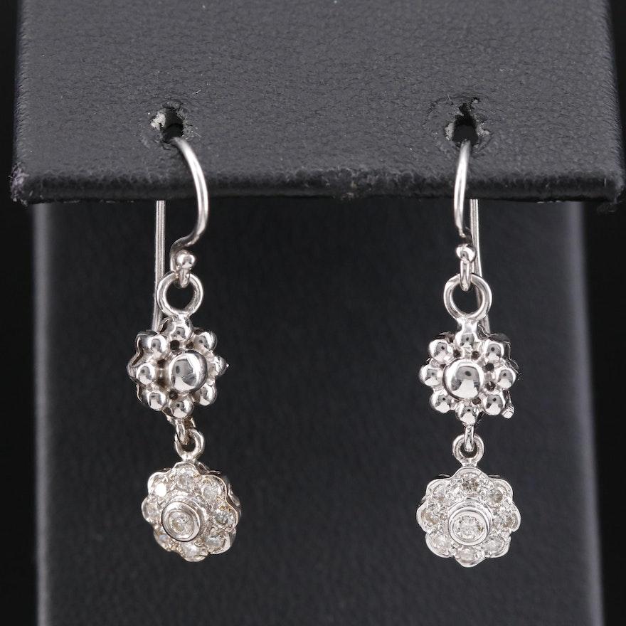 18K Diamond Flower Dangle Earrings