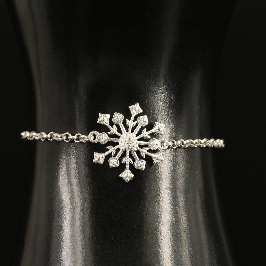 D'Joy Sterling Silver and Stainless Steel Diamond Snowflake Bracelet