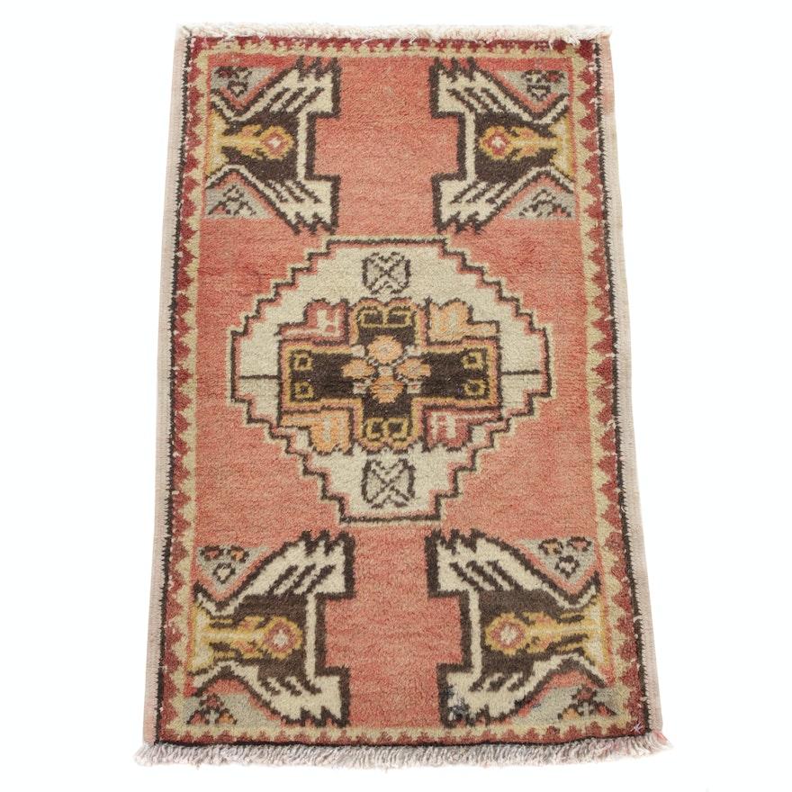 1'7 x 2'7 Hand-Knotted Turkish Village Rug, 1930s