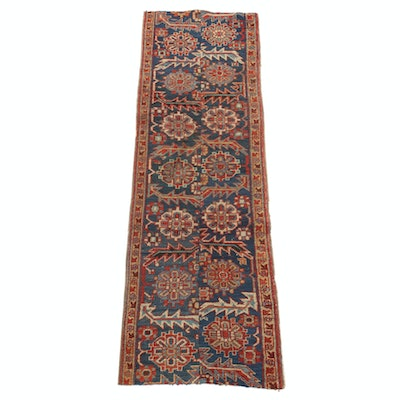 2'2 x 6'9 Hand-Knotted Persian Heriz Fragment Carpet Runner, 1930s